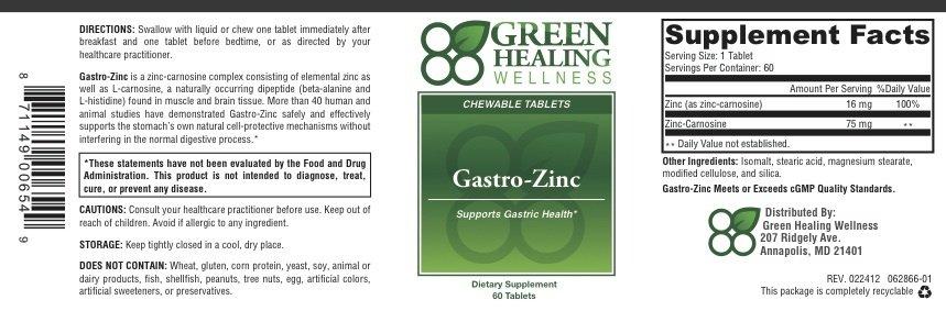Gastro-Zinc Label